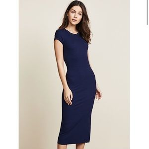 Enza Costa Ribbed Cap Sleeve Dress in Atlantic